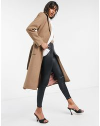 Y.A.S Tailored Coat With Tie Waist Belt - Brown