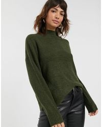 Warehouse Rib Sweater With Funnel Neck - Green