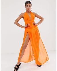 South Beach Оранжевое Пляжное Платье С Двумя Разрезами -оранжевый