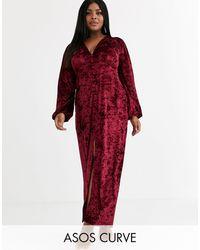 ASOS Asos Design Curve Long Sleeve Button Through Velvet Maxi Dress-red