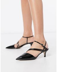 Call It Spring Monae Kitten Heel Strappy Pointed Court Shoes - Black