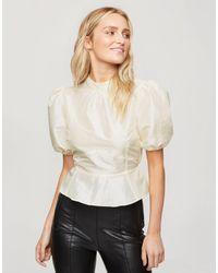 Miss Selfridge Блузка Из Органзы С Пышными Рукавами Кремового Цвета -кремовый - Естественный