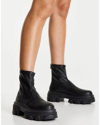 TOPSHOP Черные Ботинки-носки На Массивной Подошве Kendall-черный Цвет