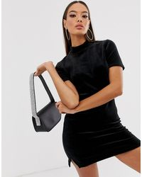 Juicy Couture Velour Mock Neck Logo Mini Dress - Black