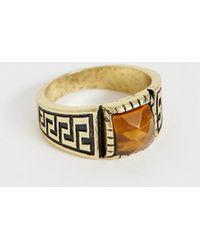 ASOS Plus Vintage Style Ring With Tiger Eye In Burnished Gold Tone - Metallic