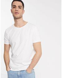 Weekday T-shirt bianca con bordi grezzi scuri - Bianco