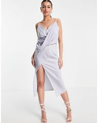 ASOS Drape Front Midi Slip Dress With Wrap Skirt-blue - Multicolour