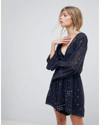 The Fifth Label Someone Sometime Flared Sleeve Playsuit - Blue