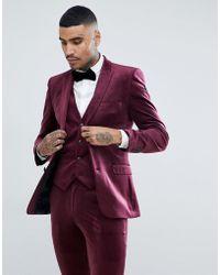 ASOS - Super Skinny Suit Jacket In Burgundy Velvet - Lyst