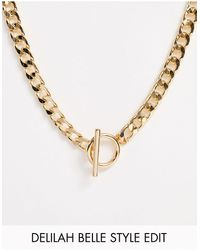 ASOS Necklace With T Bar And Curb Chain - Metallic