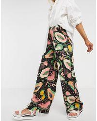 SELECTED Frutti Printed Wide Leg Trousers - Multicolour