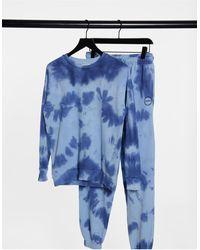 TOPSHOP – Sweatshirt mit Batikmuster - Blau