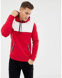 Hollister Colour Block Taped Logo Pockets Hoodie In Red/white