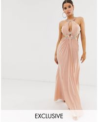 Forever Unique Exclusive Embellished Maxi Dress With Draped Front - Pink
