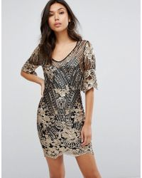 f50cb4ec424a TFNC London Two Tone Sequin Mini Dress With Plunge Back in Pink - Lyst