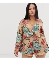 Boohoo Wrap Playsuit With Long Sleeves In Beige Floral - Multicolour