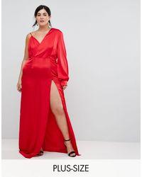 Taller Than Your Average Vestido largo asimétrico con abertura alta en el muslo - Rojo