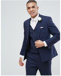 ASOS Asos Wedding - Skinny Colbert Met Vierkante Boord - Blauw