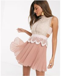 ASOS Contrast Lace Mini Dress With Peplum And Pleated Hem - Pink