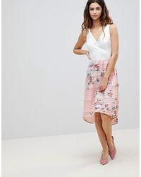 df5d7b2bca2d1d Robe mi-longue 2 en 1 avec jupe motif floral - Rose
