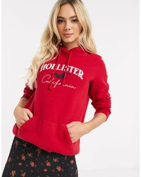 Hollister Hoodie With Front Logo - Red