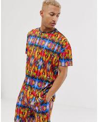 Liquor N Poker Oversized T-shirt Met Neon Kaleidoscope Print - Roze