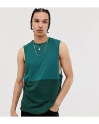 ASOS - Tall Organic Relaxed Sleeveless T-shirt With Dropped Armhole With Contrast Yoke In Green - Lyst