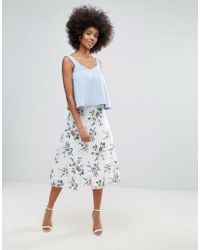 Darling - Floral Embroidered Mesh A Line Skirt - Lyst