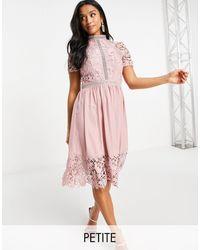 Chi Chi London Lace Detail Skater Dress - Pink