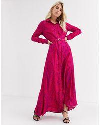 FABIENNE CHAPOT - Laura Lou Belted Shirt Maxi Dress-pink - Lyst