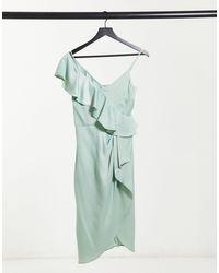 Lipsy Robe volantée à épaules dénudées - Vert