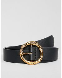 ASOS Hammered Gold Circle Waist & Hip Jeans Belt - Black