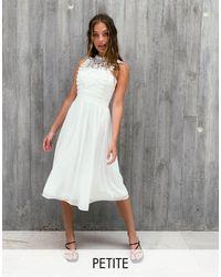 Chi Chi London Lace Mix Prom Dress - White