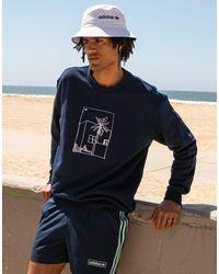 adidas Originals 'summer Club' Oversized Sweatshirt With Hand Drawn Graphic - Blue