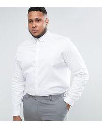 ASOS - Plus Wedding Slim Fit Sateen Shirt In White - Lyst
