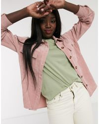 Pieces Cord Oversized Shirt - Pink