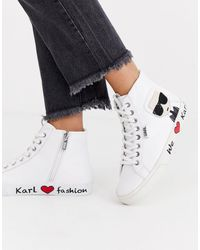Karl Lagerfeld White Leather Hi Top Trainers