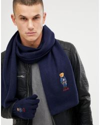 Polo Ralph Lauren - Bear Logo Wool Gloves And Scarf Gift Set In Navy - Lyst