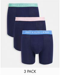 Polo Ralph Lauren Confezione da 3 boxer aderenti blu navy con elastico