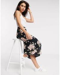 Warehouse Floral Print Midi Skirt - Black