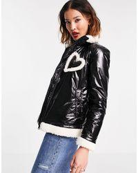 Love Moschino Черная Лакированная Куртка С Отделкой Сердечком -черный