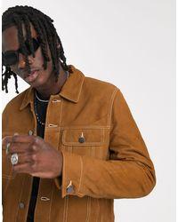 ASOS Светло-коричневая Замшевая Куртка С Контрастными Строчками - Коричневый