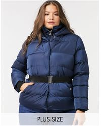 Simply Be Belted Padded Coat - Blue