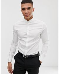 ASOS Skinny Fit Sateen Wedding Shirt With Double Cuff And Wing Collar - White