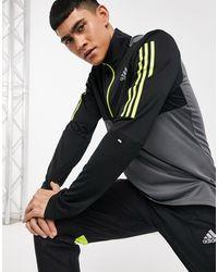 adidas Originals Худи Черного И Серого Цветов На Молнии 1/4 Adidas Running-черный Цвет