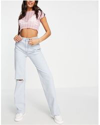 Pull&Bear 90's Wide Leg Jeans With Rip - Blue