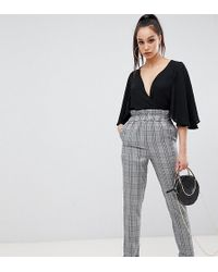 Missguided Paper Bag Waist Trousers In Grey Check - Gray