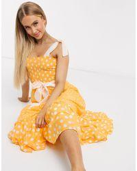 River Island Оранжевое Присборенное Платье Миди В Горошек -оранжевый