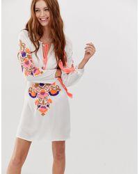 Glamorous Топ С Вышивкой -белый - Многоцветный