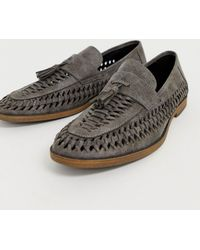 New Look Faux Leather Woven Tassel Loafer In Gray